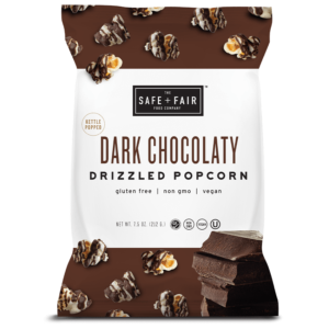 Safe + Fair Drizzled Popcorn Reviews and Info - Dairy-Free, Vegan, Gluten-Free, Nut-Free, and Soy-Free. In 5 dessert-inspired flavors. Pictured: Dark Chocolaty