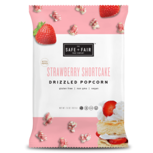 Safe + Fair Drizzled Popcorn Reviews and Info - Dairy-Free, Vegan, Gluten-Free, Nut-Free, and Soy-Free. In 5 dessert-inspired flavors. Pictured: Strawberry Shortcake