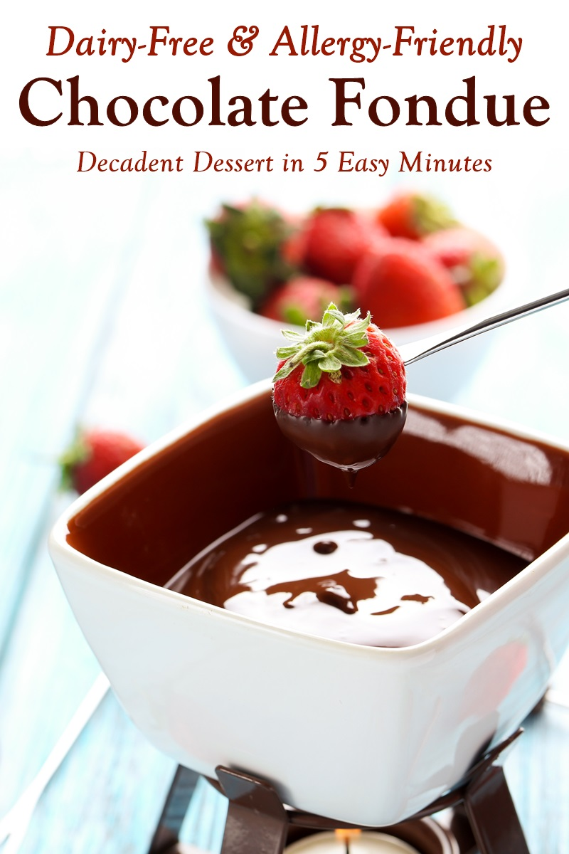 Dairy-Free Chocolate Fondue Recipe (Also vegan and top food allergy-friendly) + 22 Dairy-Free Foods for Dipping!