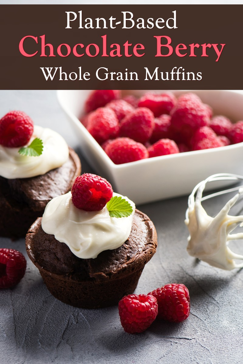 Vegan Chocolate Berry Muffins made with Whole Grains & Fresh Fruit - plant-based recipe with a double dose of dairy-free chocolate, raspberries, and currants.