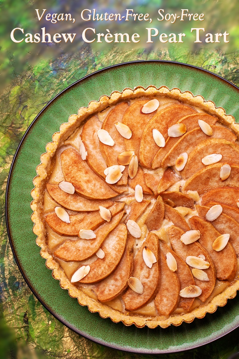 Vegan Cashew Crème Pear Tart Recipe (also Gluten-Free!) A delicious sample from Sweet Vegan Treats by Hannah Kaminsky.