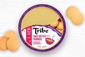Tribe Dessert Hummus Reviews and Info - dairy-free, plant-based, gluten-free, nut-free, and soy-free! Four flavors. Pictured: Cake Batter
