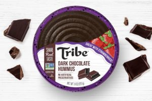 Tribe Dessert Hummus Reviews and Info - dairy-free, plant-based, gluten-free, nut-free, and soy-free! Four flavors. Pictured: Dark Chocolate