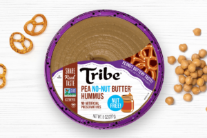 Tribe Dessert Hummus Reviews and Info - dairy-free, plant-based, gluten-free, nut-free, and soy-free! Four flavors. Pictured: Pea No-Nut Butter