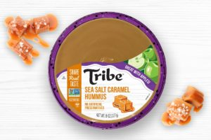 Tribe Dessert Hummus Reviews and Info - dairy-free, plant-based, gluten-free, nut-free, and soy-free! Four flavors. Pictured: Sea Salt Caramel