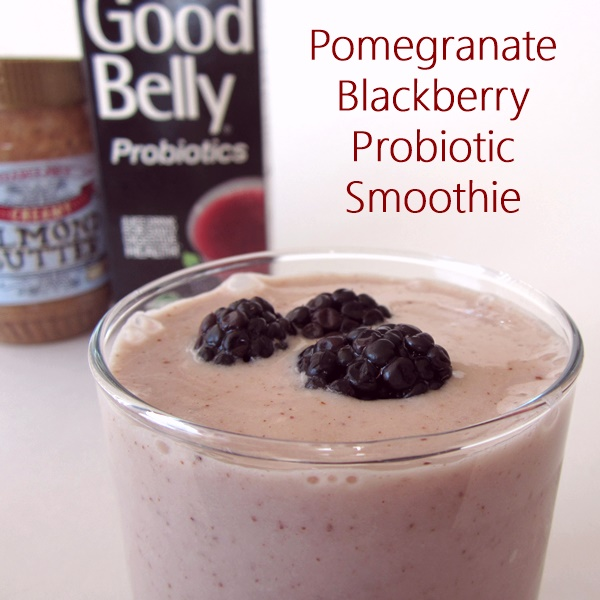 Pomegranate Blackberry Probiotic Smoothie made with GoodBelly Organic Probiotic Fruit Juice Drink (Vegan, Dairy-Free, Soy-Free)