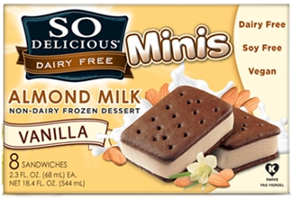 So Delicious Dairy Free Ice Cream Sandwiches - Vanilla Almond Minis