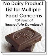 Buy Now! - No Dairy Product List for Multiple Food Concerns