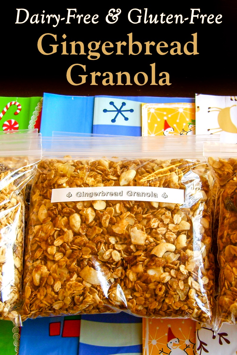Homemade Gingerbread Granola Recipe - naturally vegan, gluten-free, and soy-free, with nut-free option. So delicious and it makes your house smell wonderful! Great gift from the kitchen.