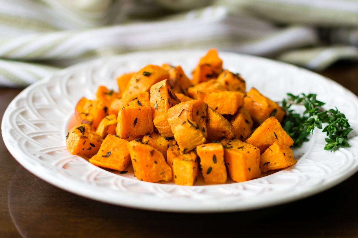 Thyme Roasted Sweet Potatoes Recipe - naturally healthy, dairy-free, vegan, paleo and allergy-friendly