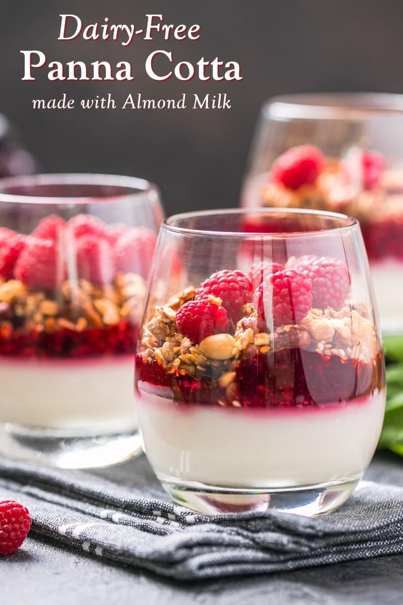Dairy-Free Almond Milk Panna Cotta Recipe with fresh berry puree
