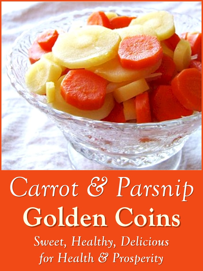 Golden Carrot and Parsnip Coins for Health and Prosperity - Lightly glazed recipe to bring out the natural sweetness of the vegetables. Dairy-free, gluten-free, plant-based, allergy-friendly.