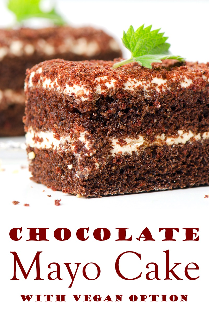 "Dairy-Free Chocolate Mayo Cake Recipe with Cupcake Option. A ""depression era"" cake made straight from the pantry! Vegan option."