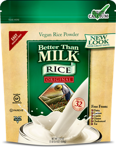 Better Than Milk Vegan Powders make Instant Soy Milk or Rice Milk - Dairy-Free, Gluten-Free, Nut-Free, Kosher Pareve. Pictured: Rice Original