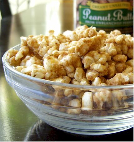 Peanut Butter Cinnamon Popcorn Or Rice Cake Snack