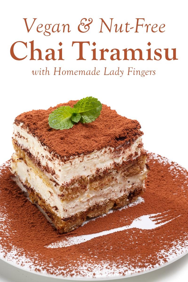 Vegan Chai Tiramisu Recipe - also nut-free! Homemade lady fingers.