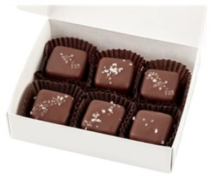 No Whey Chocolate Truffles Reviews and Information - vegan, gluten-free, dairy-free, nut-free, and soy-free chocolatier that makes a variety of chocolates year round. Great for gifts. Pictured: Sea Salt Caramels