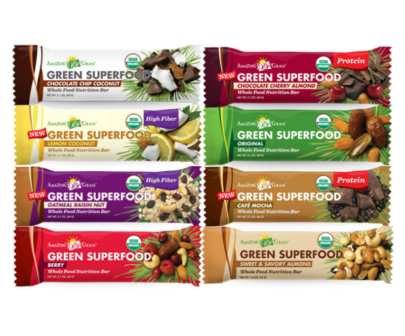 Amazing Grass Green Superfood Bars - a nutrition bar made from wholesome ingredients. Available in 9 dairy-free, vegan flavors!