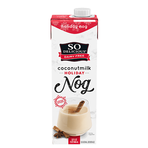 So Delicious Coconut Milk Beverage is an Organic Dairy-Free Staple - Reviews and Info on this dairy-free, vegan, gluten-free, soy-free line of milk alternatives. Pictured: Holiday Nog