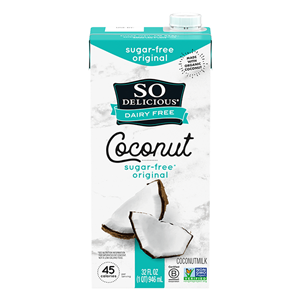 So Delicious Coconut Milk Beverage is an Organic Dairy-Free Staple - Reviews and Info on this dairy-free, vegan, gluten-free, soy-free line of milk alternatives. Pictured: Sugar-Free