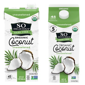 So Delicious Coconut Milk Beverage is an Organic Dairy-Free Staple - Reviews and Info on this dairy-free, vegan, gluten-free, soy-free line of milk alternatives. Pictured: Unsweetened Original