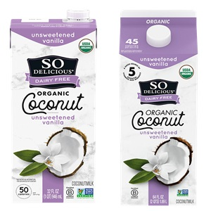 So Delicious Coconut Milk Beverage is an Organic Dairy-Free Staple - Reviews and Info on this dairy-free, vegan, gluten-free, soy-free line of milk alternatives. Pictured: Unsweetened Vanilla