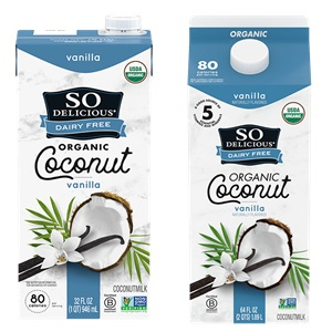 So Delicious Coconut Milk Beverage is an Organic Dairy-Free Staple - Reviews and Info on this dairy-free, vegan, gluten-free, soy-free line of milk alternatives. Pictured: Vanilla