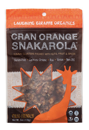 Laughing Giraffe Snakarola - Organic, raw, dairy-free, and vegan granola. Available in Cranberry Orange, Curry Cashew, and Cherry Ginger!