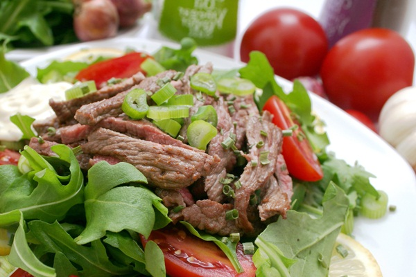 Taco Steak Salad w/ Ginger Lime Dressing - Go Dairy Free