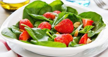 Strawberry Spa Salad Recipe with Almond Vinaigrette - plant-based, flavorful, dairy-free, gluten-free and optionally paleo #strawberries #spinachsalad