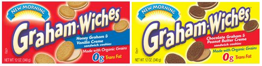 New Morning Graham-Wiches: Honey & Vanilla Creme and Chocolate & PB Creme