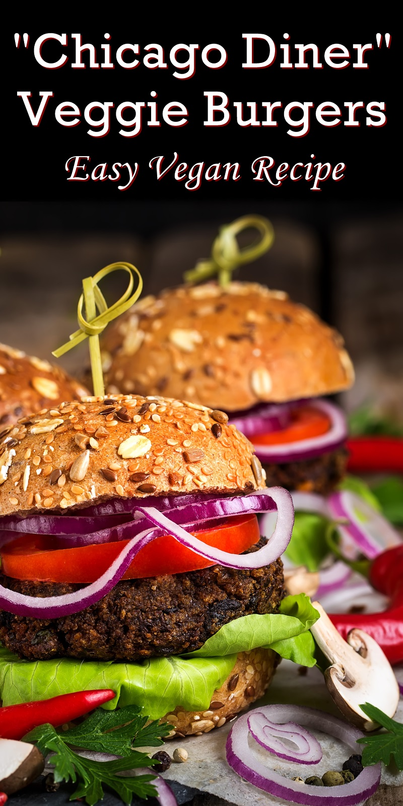Chicago Diner Mushroom Burgers Recipe - a riff on the meaty veggie burgers from a popular vegan restaurant. Dairy-free, egg-free and vegan (no beans!)