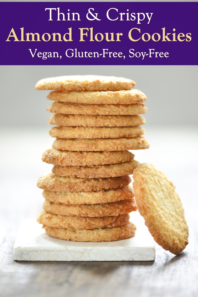 Gluten-Free Vegan Thin and Crispy Almond Flour Cookies Recipe - delicate and delicious!