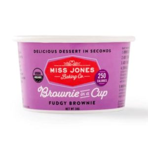 Dairy-Free Miss Jones Dessert Cups Reviews and Info - just add water and microwave instructions. Pictured: Fudgy Brownie in a Cup