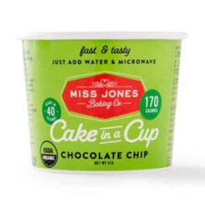 Dairy-Free Miss Jones Dessert Cups Reviews and Info - just add water and microwave instructions. Pictured: Chocolate Chip Cake in a Cup