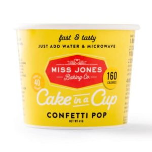 Dairy-Free Miss Jones Dessert Cups Reviews and Info - just add water and microwave instructions. Pictured: Confetti Pop Cake in a Cup