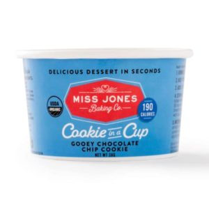 Dairy-Free Miss Jones Dessert Cups Reviews and Info - just add water and microwave instructions. Pictured: Gooey Chocolate Chip Cookie in a Cup
