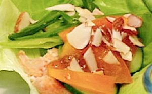 Light Poached Salmon Lettuce Wraps with Apricot Dipping Sauce