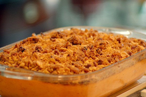 Dairy-Free Sweet Potato Casserole with a Sweet Cinnamon Brown Rice Crisp Topping (Vegan, Gluten-Free, and Free of Top Allergens)