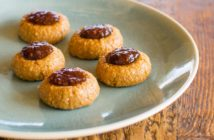 Peanut Butter & Jelly No Bake Thumbprint Cookies Recipe - Dairy-free, Soy-free, and Egg-free Bites with gluten-free, nut-free, and vegan options. Small batch recipe with larger batch options.