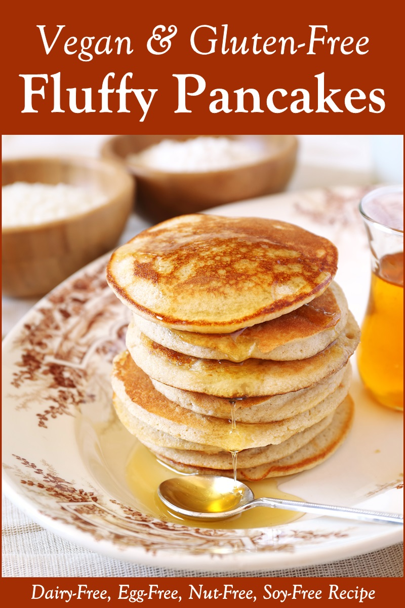 The Best Gluten-Free Vegan Pancakes Recipe - Fluffy Perfection! Includes freezer and toaster-friendly tips. Recipe is also dairy-free, egg-free, nut-free, and soy-free.
