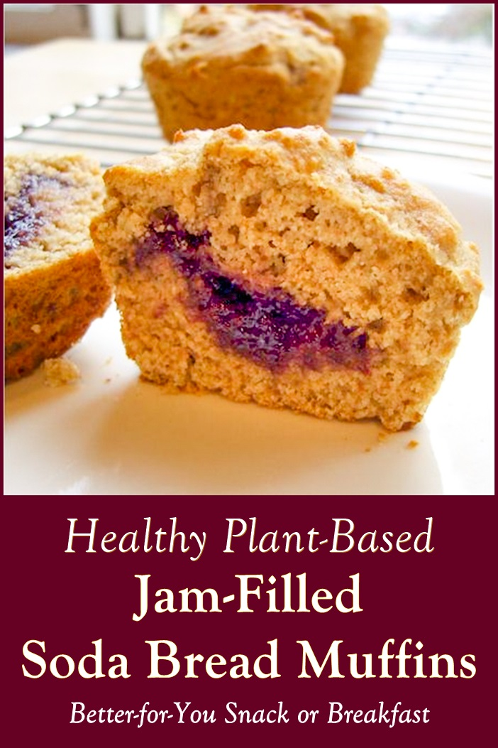 Jam-Filled Soda Bread Muffins Recipe - Healthy, Low Sugar, Plant-Based, Vegan, Dairy-Free Snack or Breakfast
