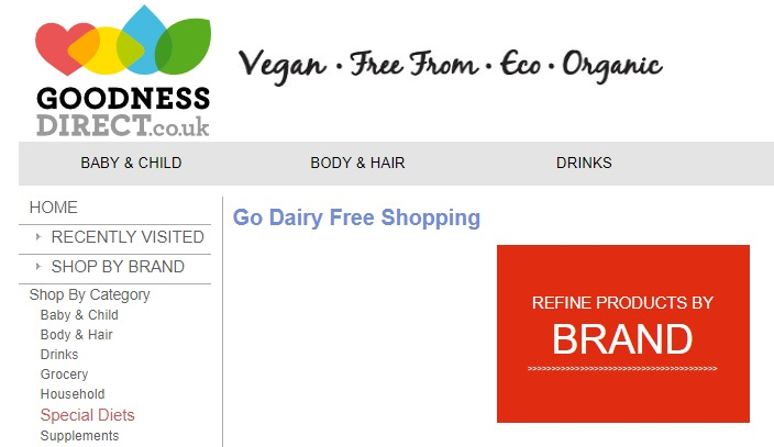 Goodness Direct is the U.K.'s oldest online shop for special diet and lifestyle needs. Food and other household items.