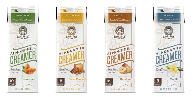 The Guide to Dairy Free Coffee Creamer: So many vegan options! (Califia Farms pictured)