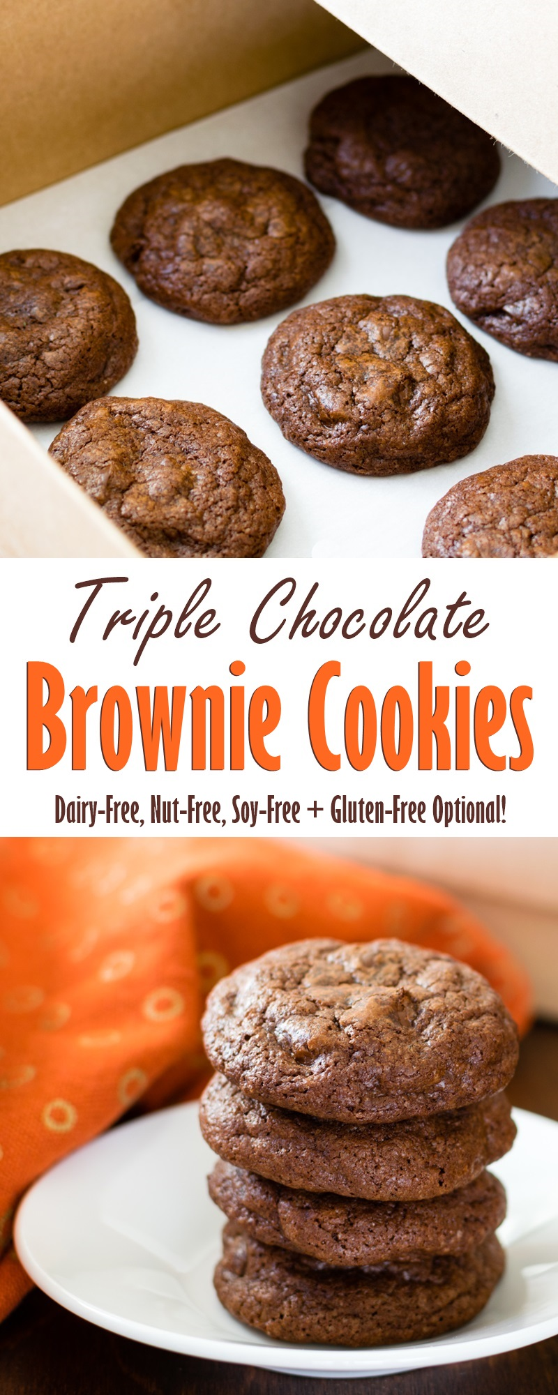 Triple Chocolate Brownie Cookies Recipe - surprisingly dairy-free, nut-free, soy-free deliciousness with gluten-free option!!