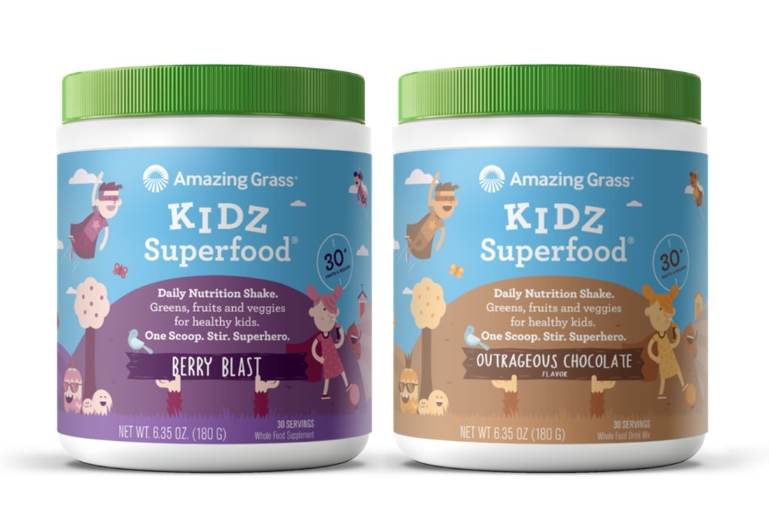 Amazing Grass Kidz Superfood Powders contain 30 fruits and veggies - reviews and info - dairy-free, gluten-free, vegan, plant-based