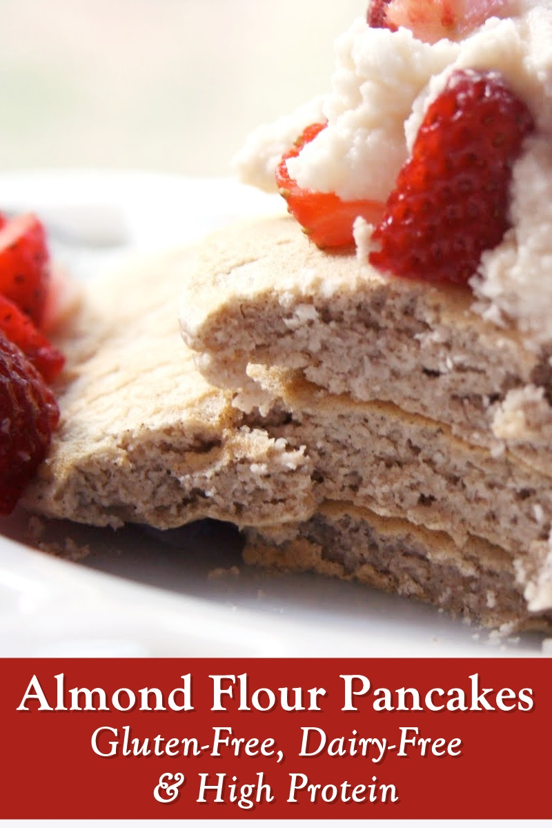 High Protein Almond Flour Pancakes Recipe - naturally gluten-free, dairy-free, soy-free, oil-free, sugar-free, starch-free, and gum-free! With a sugar-free, low-fat coconut cream topping recipe.