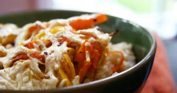 Plant-Based Cheesy Squash Casserole Recipe (dairy-free, gluten-free, allergy-friendly, vegan)