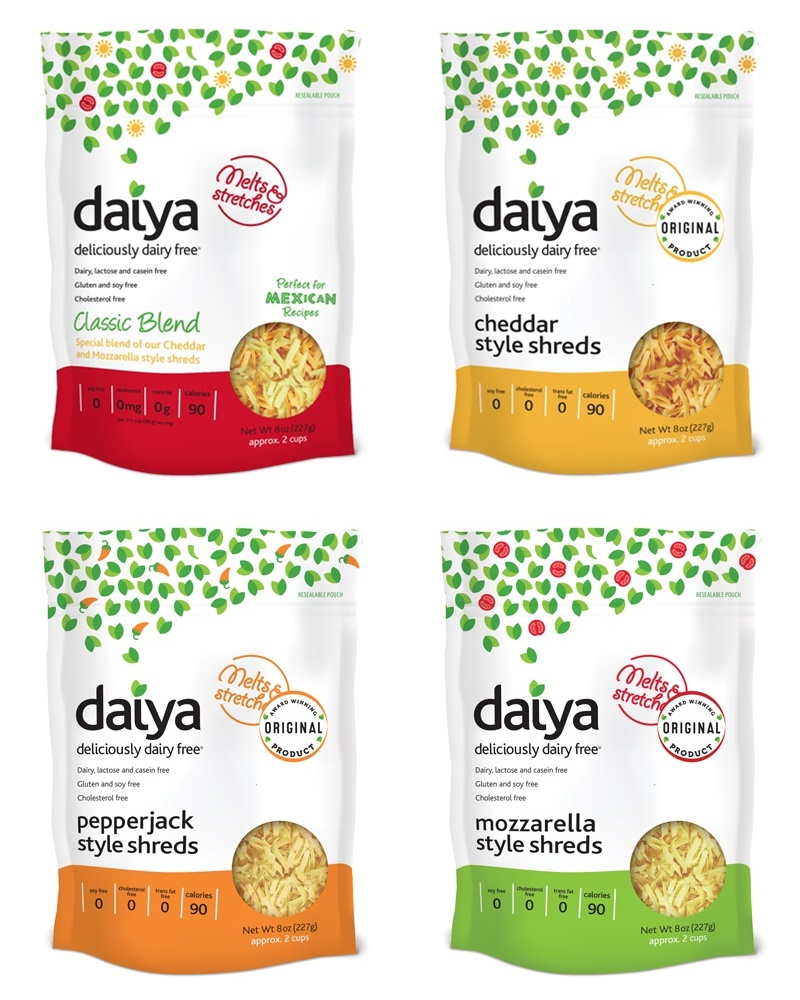 Daiya Shreds Dairy Free Cheese Alternatives (Review) - available in four cheesy vegan and top allergen-free varieties.