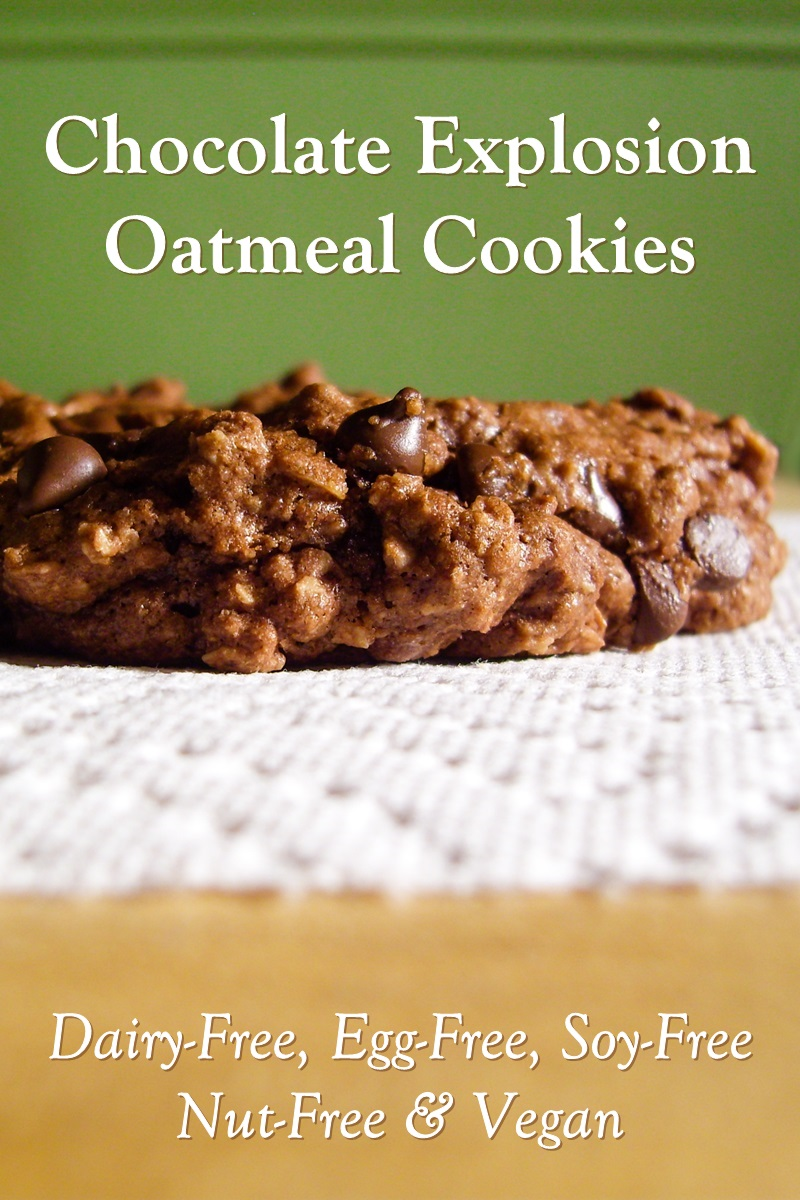Vegan Chocolate Explosion Oatmeal Cookies Recipe - dairy-free, egg-free, nut-free, soy-free and made from pantry ingredients! So rich and fudgy, they're irresistible.